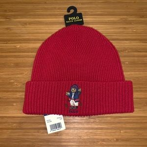 New Polo Ralph Lauren Red Ski Bear Beanie Hat Cap!